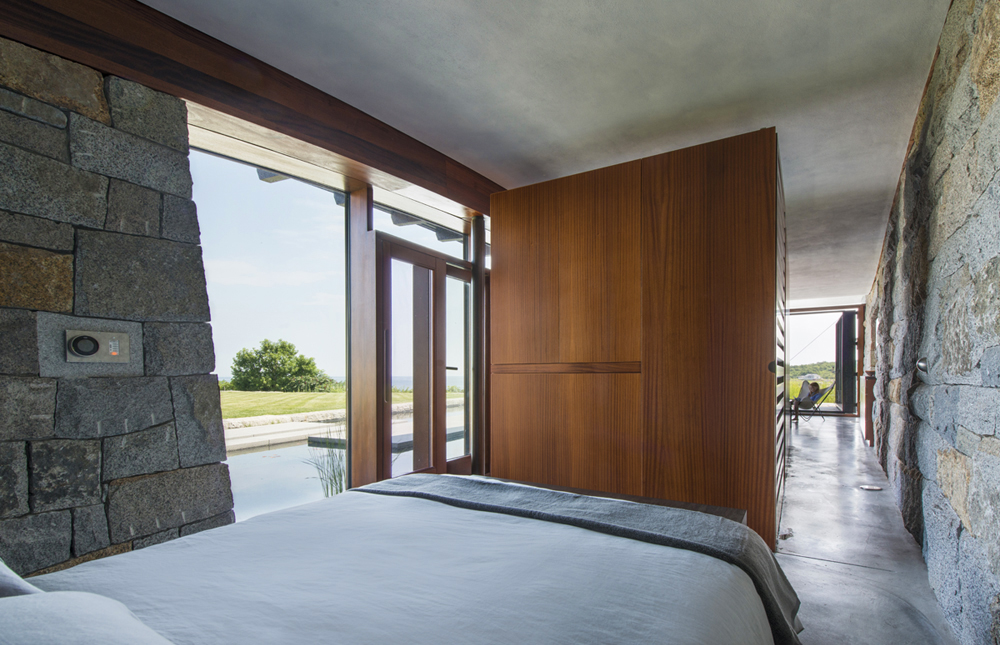 Boston Architects BUTZ + KLUG architecture, Pool House sliding wall, North Shore Gloucester MA