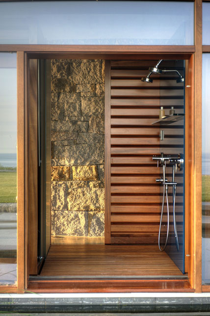 Boston Architects BUTZ + KLUG architecture, Pool House shower, North Shore Gloucester MA