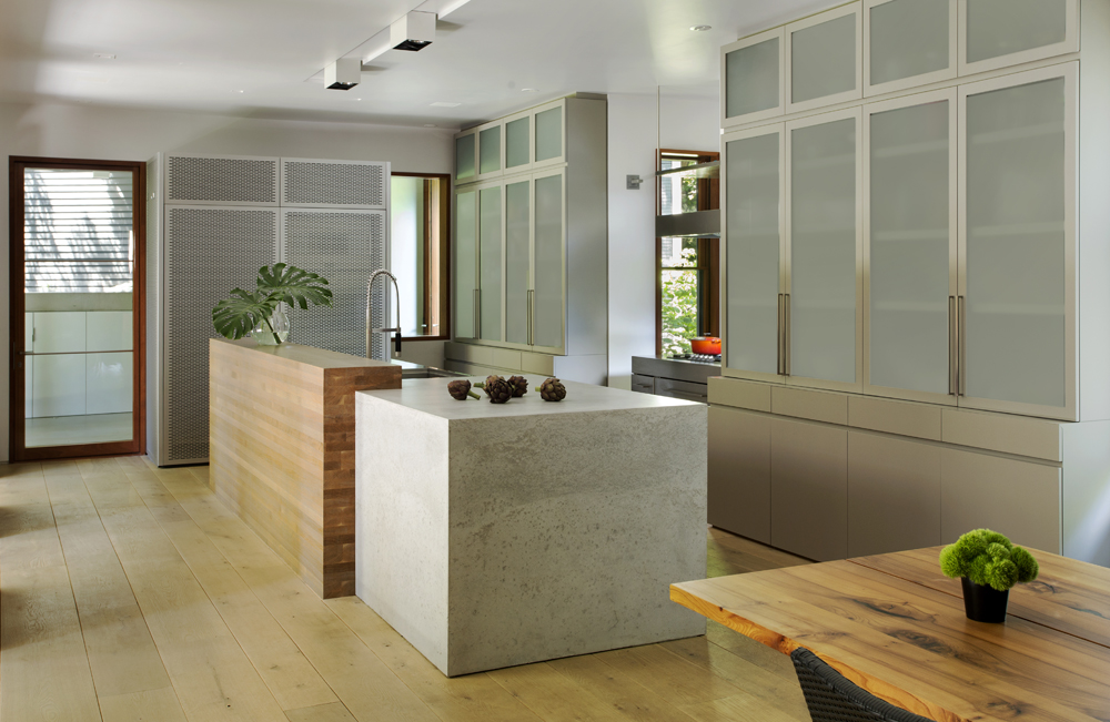 modern kitchen, concrete countertop,