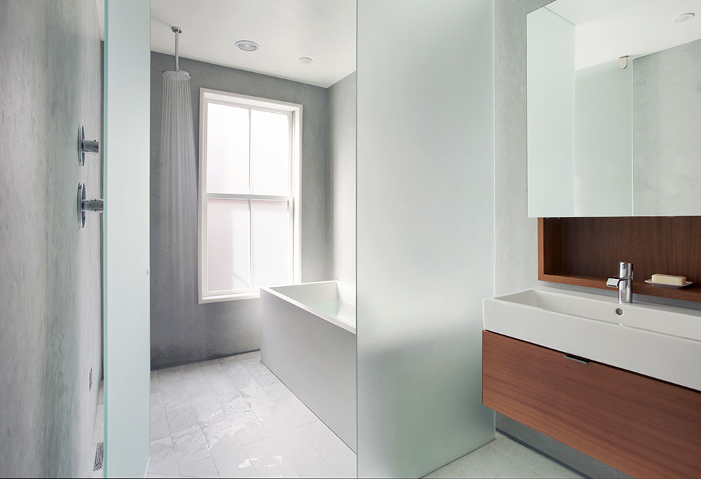 simple contemporary bathroom, boston renovation, south end renovation