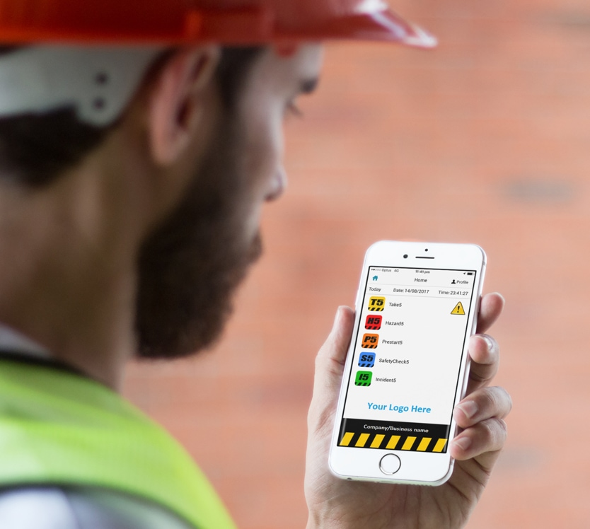 Worker looking at app screen