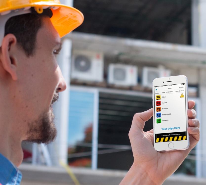 Construction worker using app