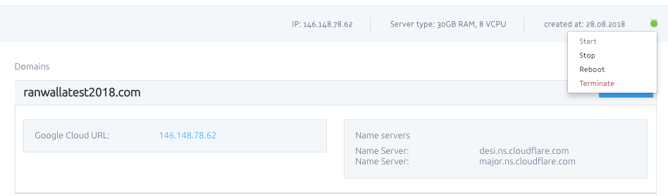 To Reboot A Server From Within Management Click On The Circular Green Icon Select Button