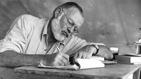 A picture of Ernest Hemingway writing