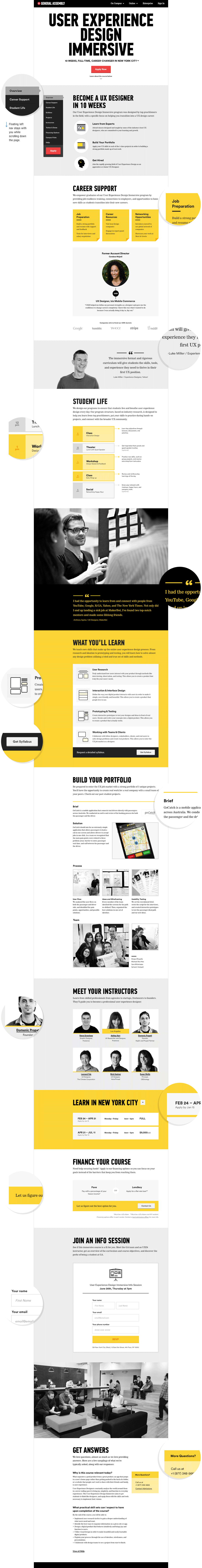 General Assembly: UXDI landing page