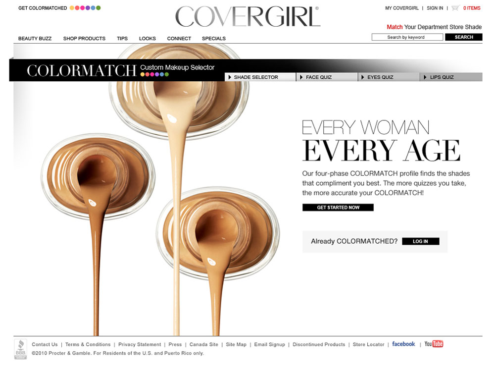 Covergirl: colormatch page design