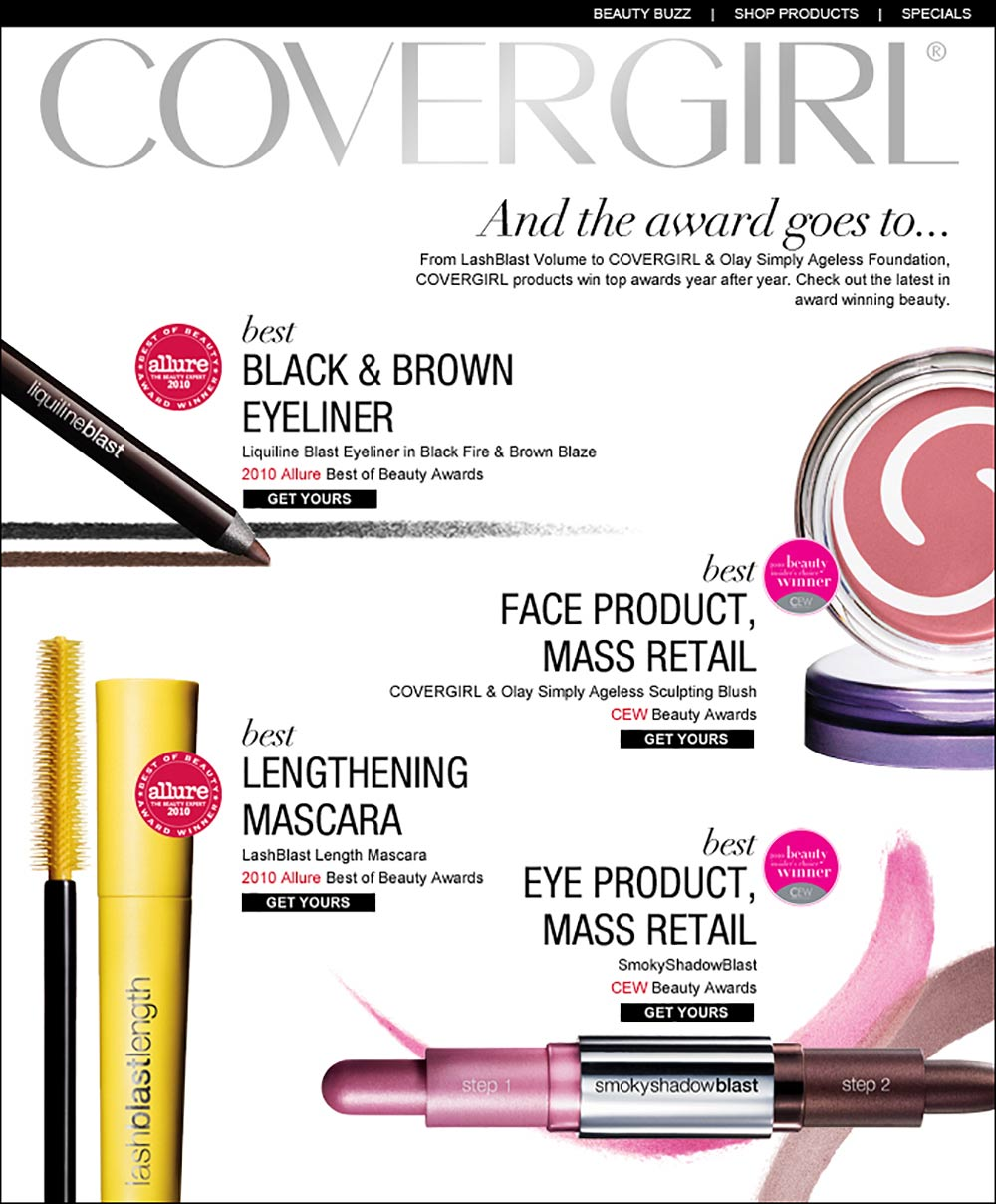 Covergirl: email design