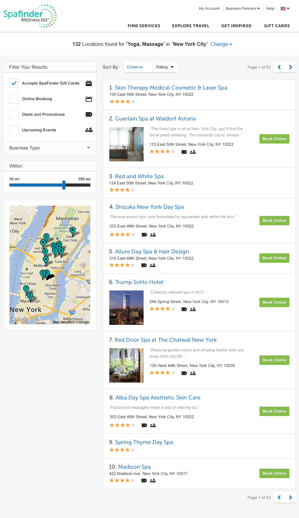 SpaFinder: search results list view