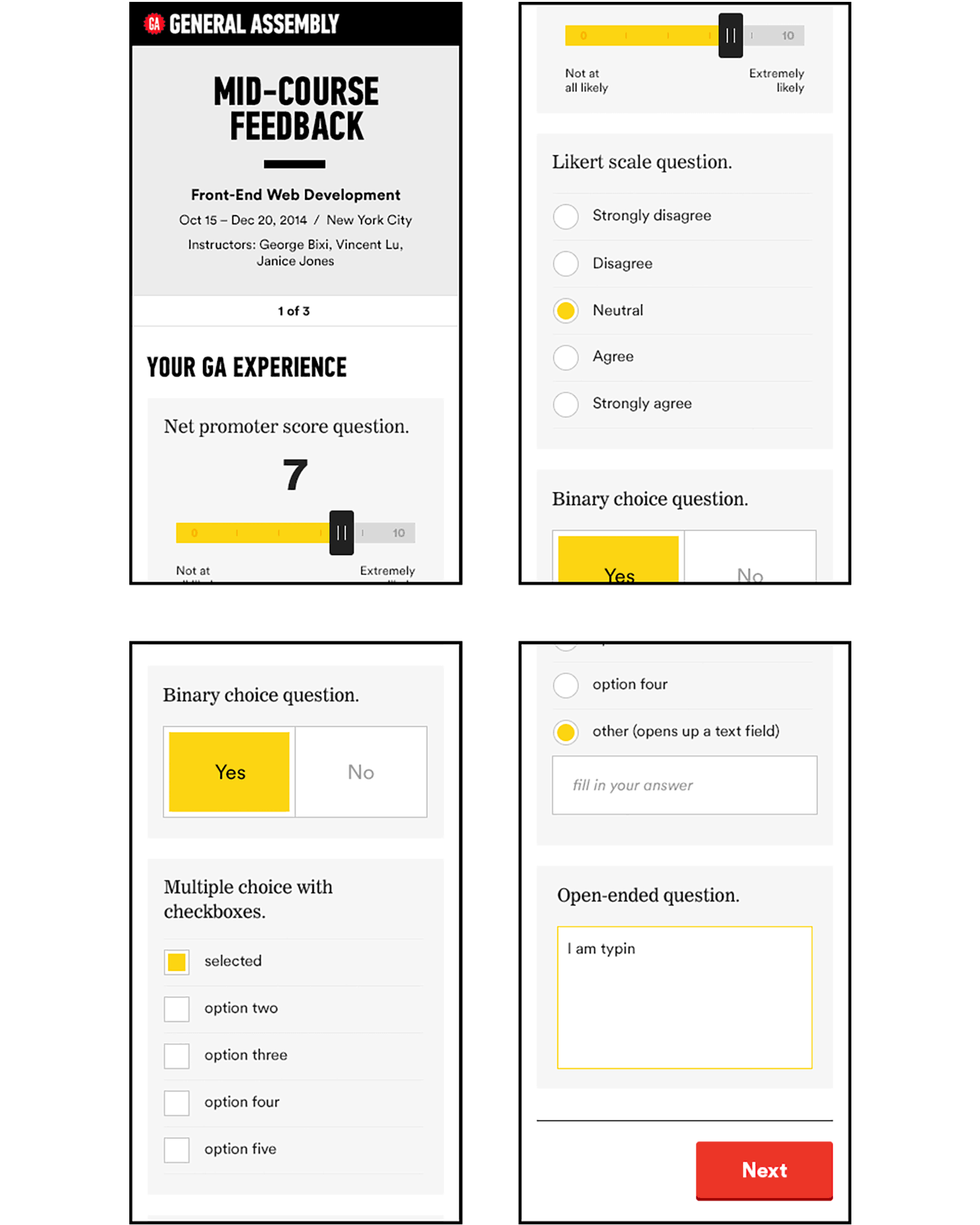 General Assembly: survey design mobile view