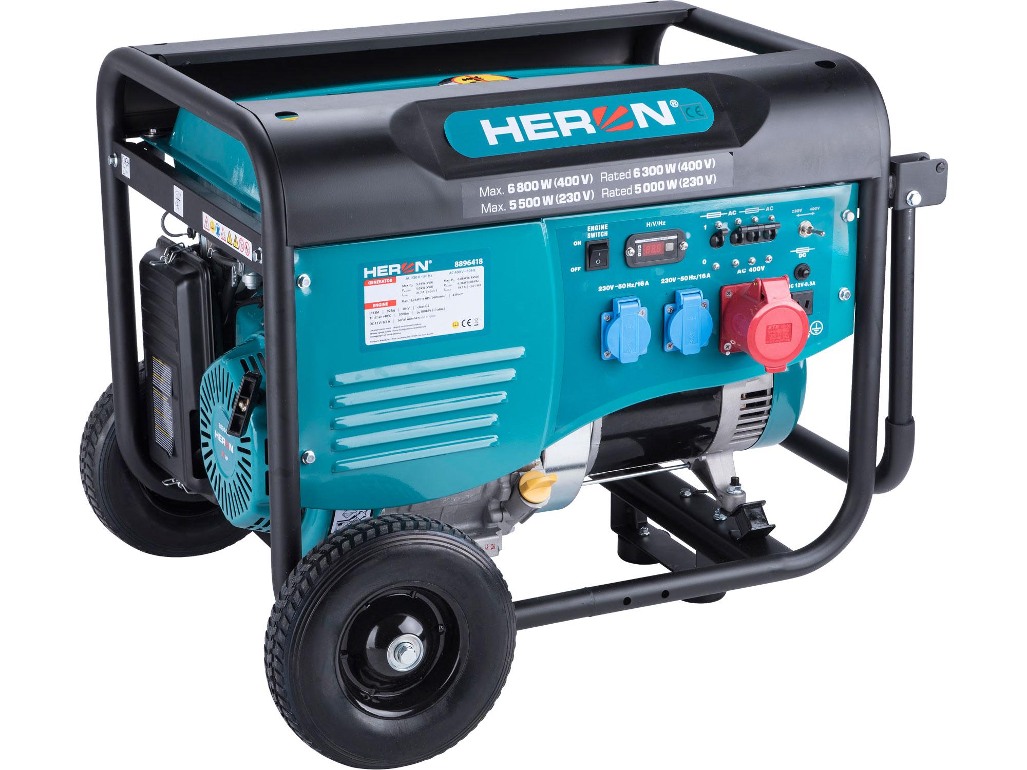 elektrocentrála benzínová 15HP/6,8kW/8,5kVA (400V), 5,5kW (230V), podvozek