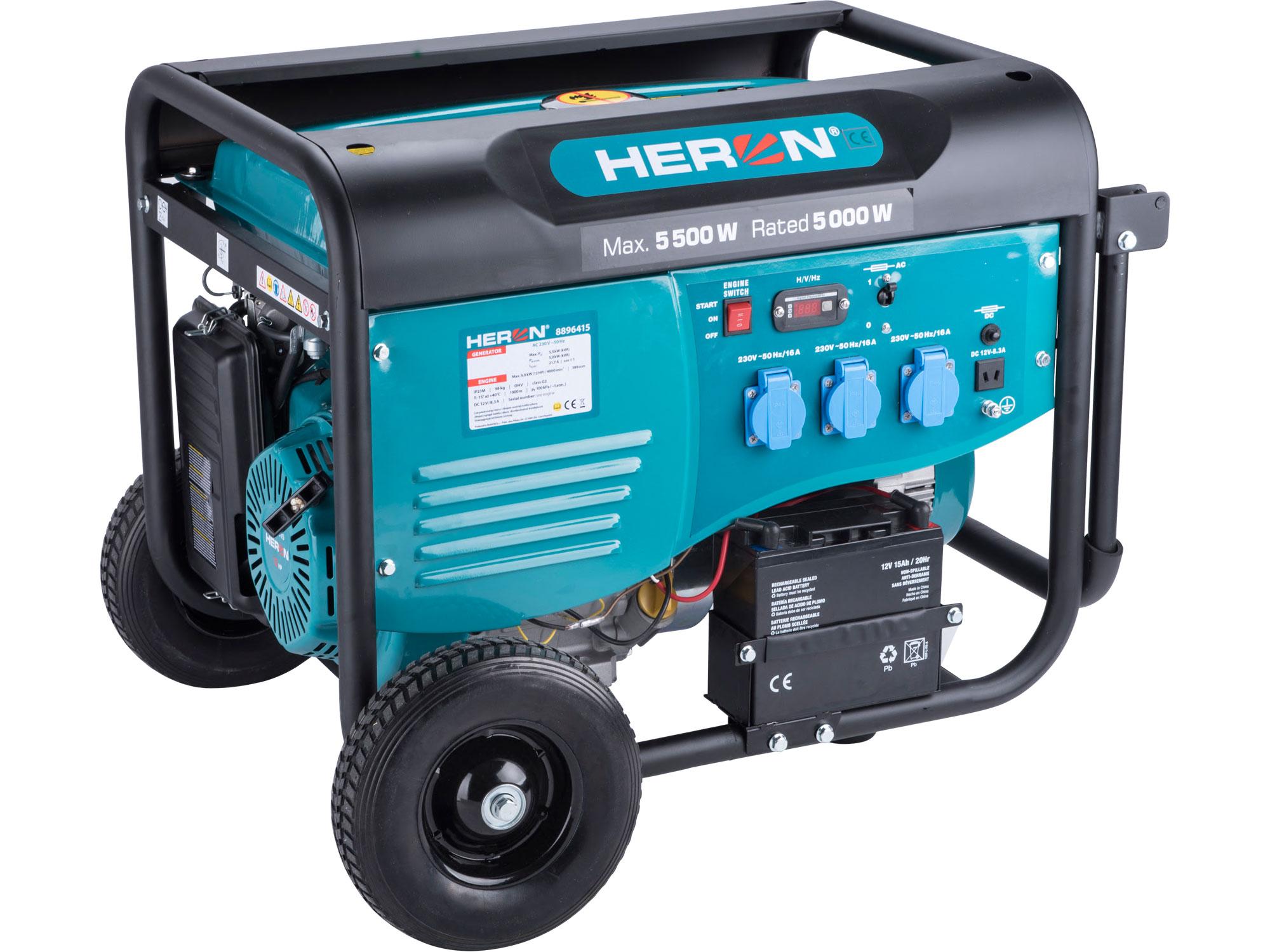 elektrocentrála benzínová 13HP/5,5kW, pro svařování, elektrický start, podvozek