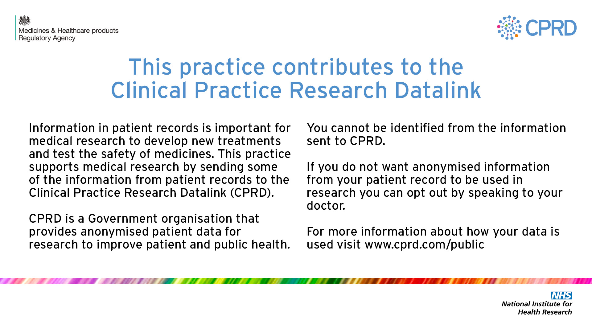 Clinical Practice Research Datalink infographic