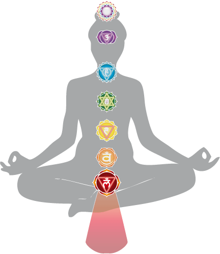 locations of the seven chakra with the root chakra on the bottom