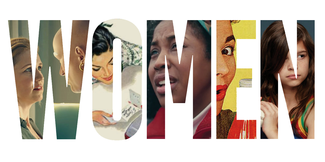 The word women spelled out with photos of a woman in each letter