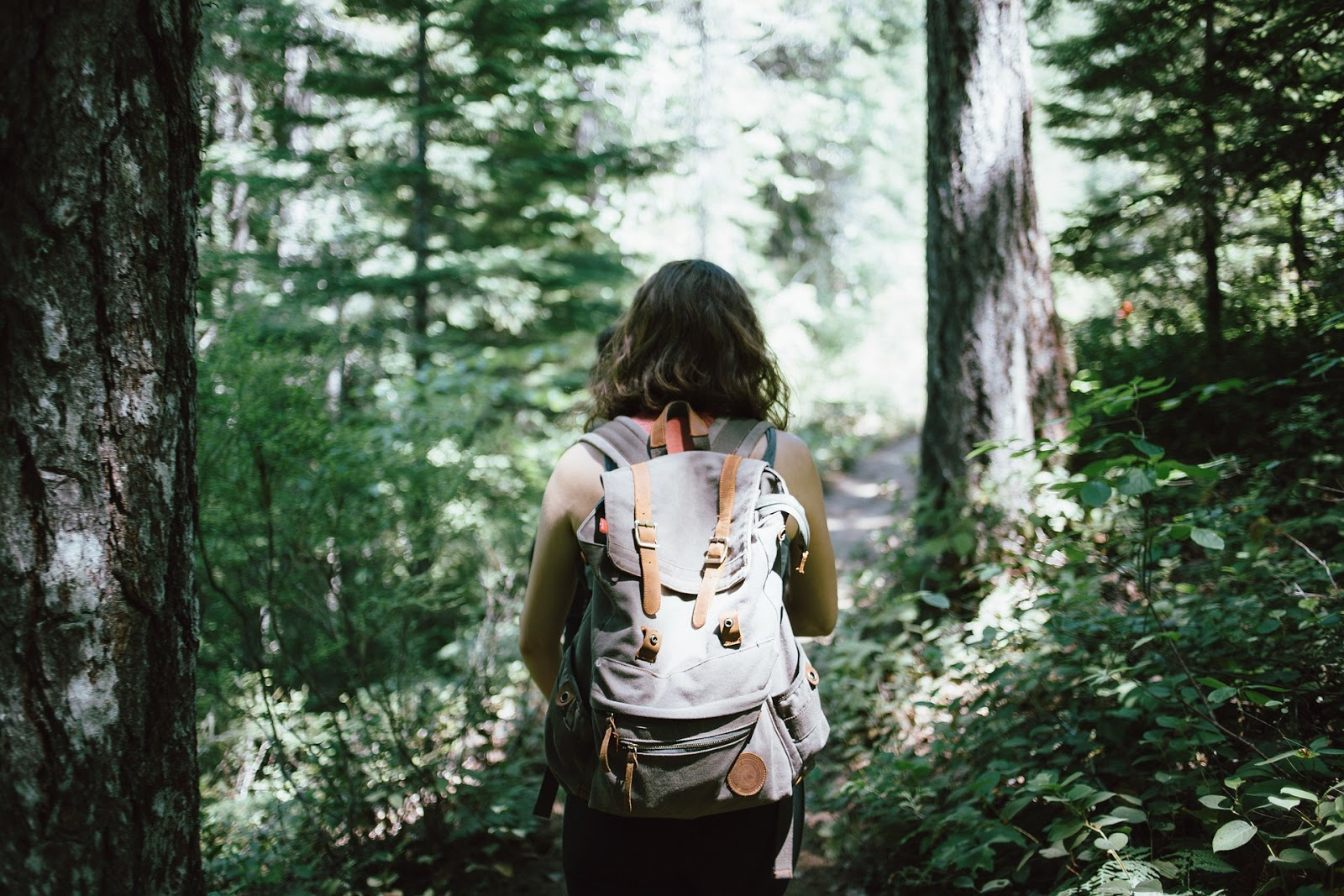 Woman hiking through the forest.