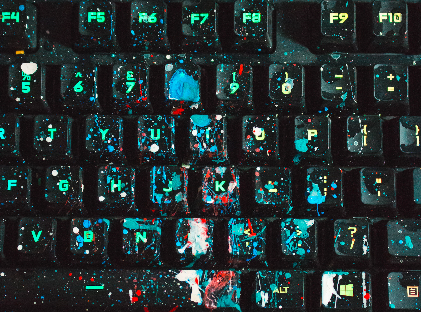 Image of splatter painted keyboard.
