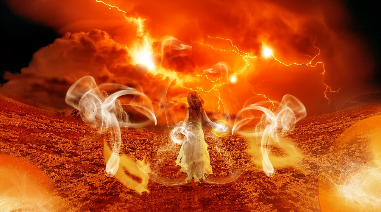 A woman in a white dress walks away from the viewer in a desert landscape with swirls of yellow light, lightning and red clouds around her