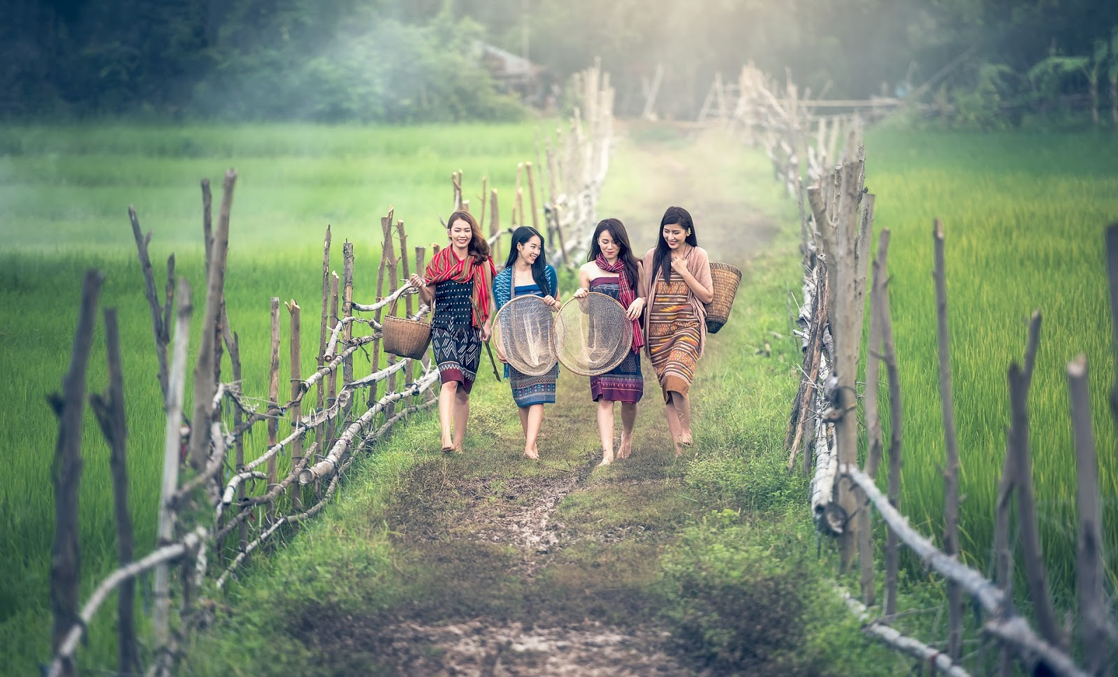 Four women walking on a trail.
