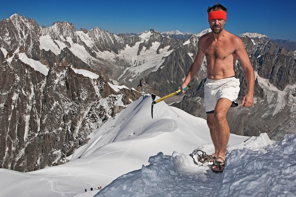 Wim Hof on top of a mountain