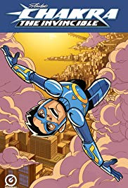 Movie poster of Chakra the Invincible of hero flying upside-down over buildings and clouds.