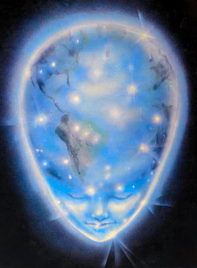 "image of ""alien"" head with Earth as it's brain"