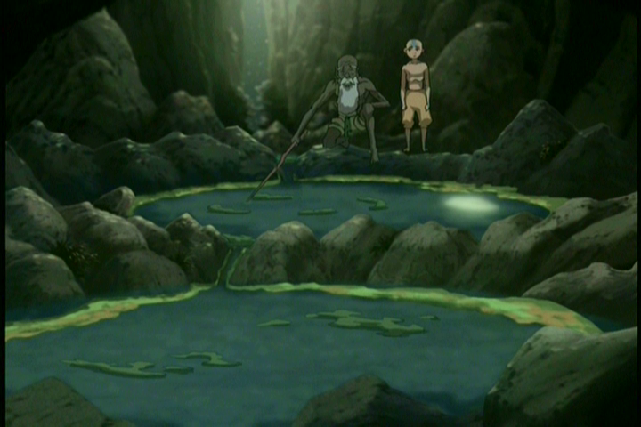 Guru Pathik shows Aang how pools of water function similar to chakras in the body