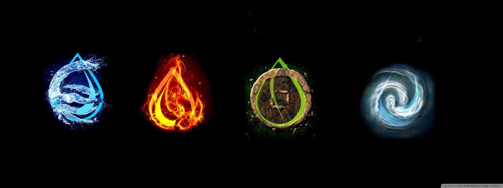 The four elements: water, fire, earth, and air