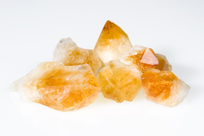 orange and white crystals