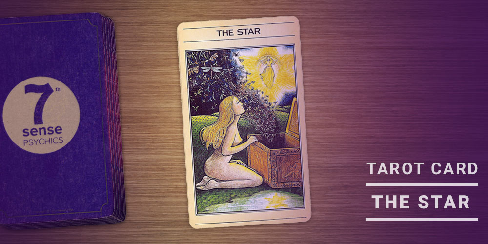 a deck of 7 sense psychics tarot card featuring the star tarot card, which shows a woman opening pandora's box