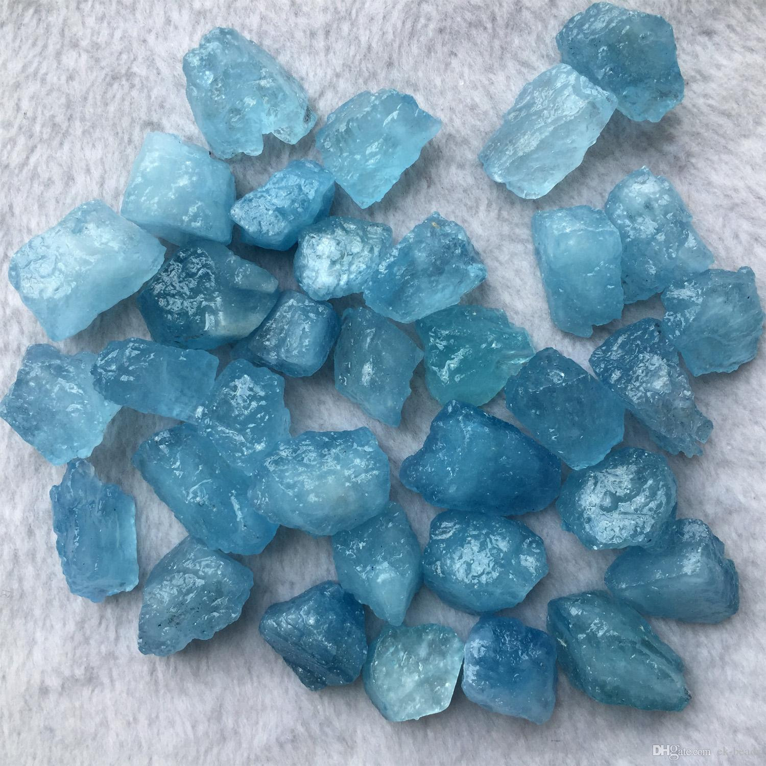 2020 High Quality Natural Genuine Raw Mineral Blue Aquamarine Hand ...