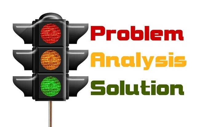 Stoplight diagram of problem, analysis, and solution