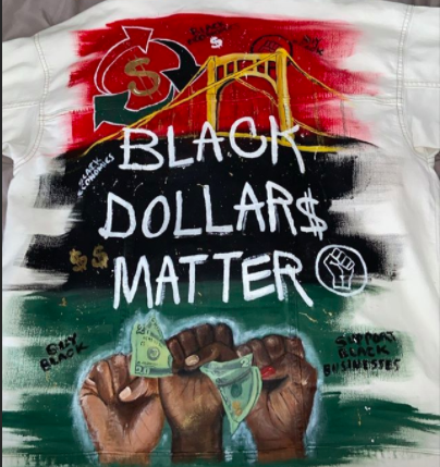 painting of Black Black Dollars Matter with Pittsburgh bridge in the background