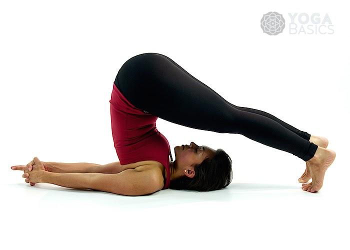 Yoga demonstration of plow pose