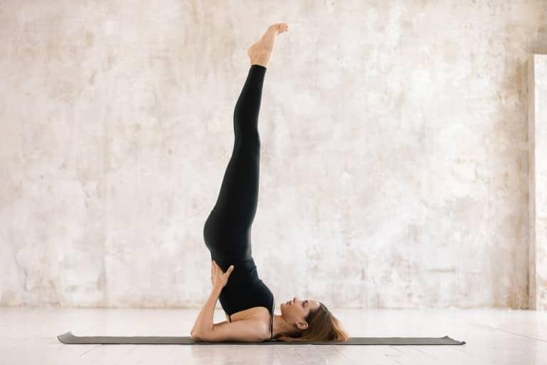 Yoga demonstration of shoulderstand