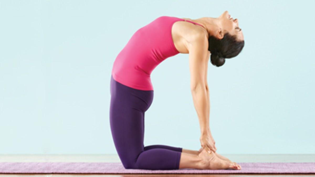 Yoga demonstration of camel pose