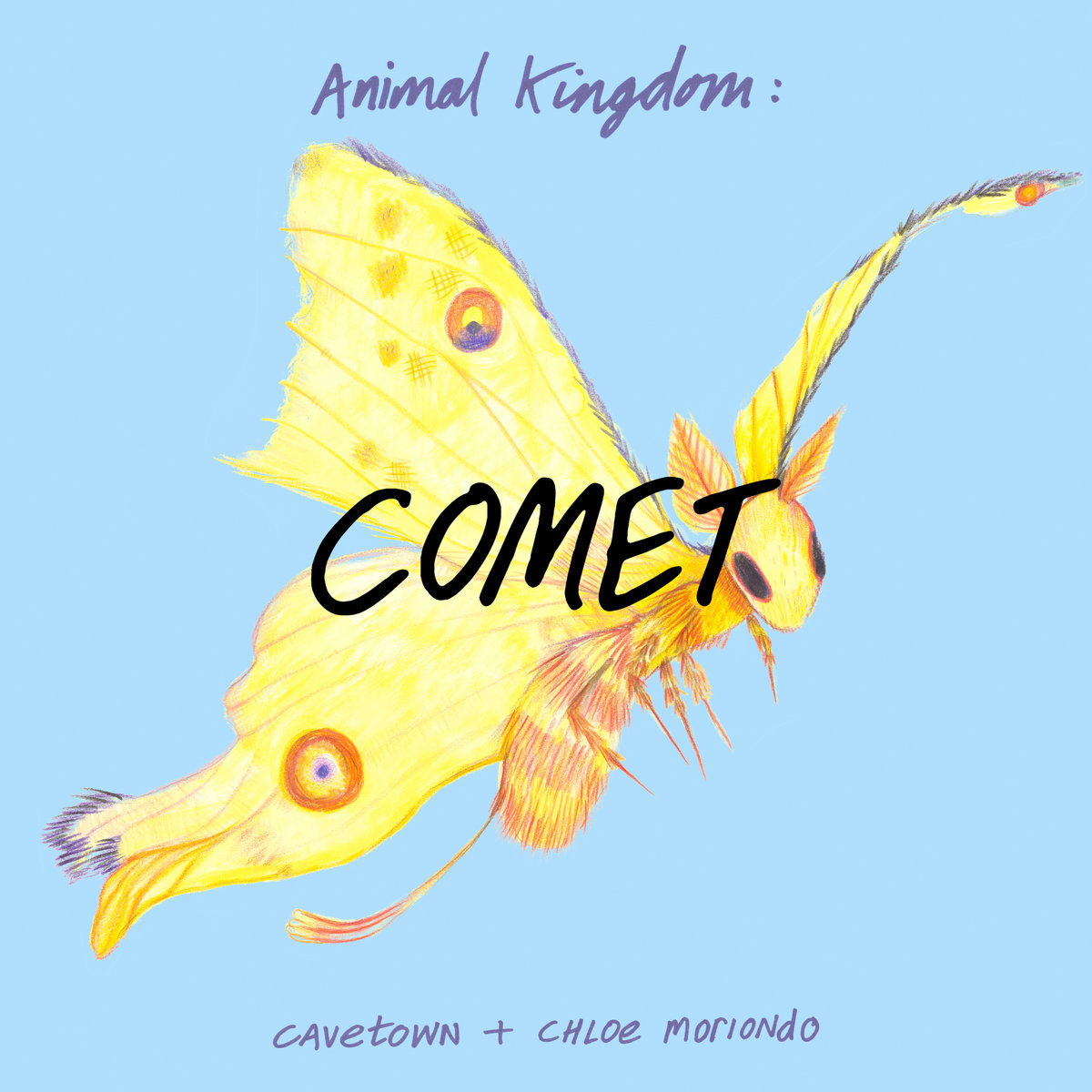 "Album cover art of a sketch of a yellow moth with the word ""COMET"" over it in black, handwrittenp-style text"