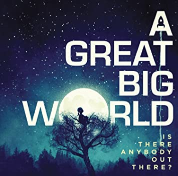 "Album cover art of a girl staring up at the starry sky from atop a tree. She is framed by the moon, which makes up the O of the word ""World,"" and is looking up at a rocket ship, which makes up the space in the ""A"" at the beginning of the duo's name."