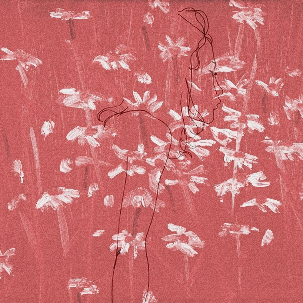 Album cover of granulated red texture with simply painted white flowers and a line drawing of a girl's profile