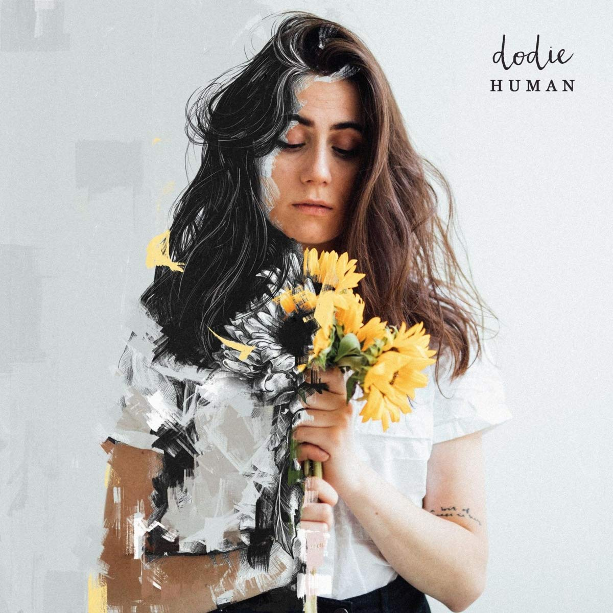 Album cover art of Dodie holding a boquet of sunflowers; half of the photo has been stylized to look like a sketch with paint splotches