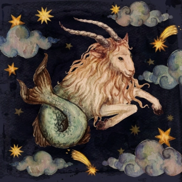 Artistic interpretation of Capricorn as the sea-goat in the night sky