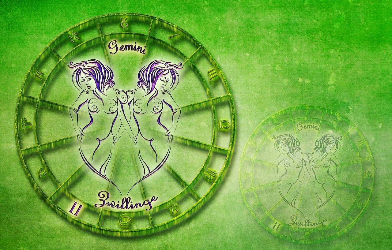 This image hows the Gemini twin symbol on a green background.