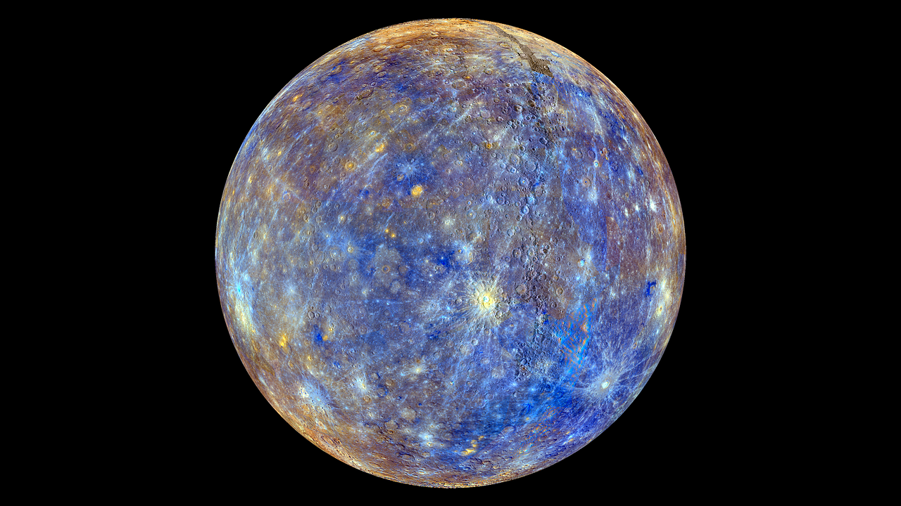 A glowing image of the planet Mercury.
