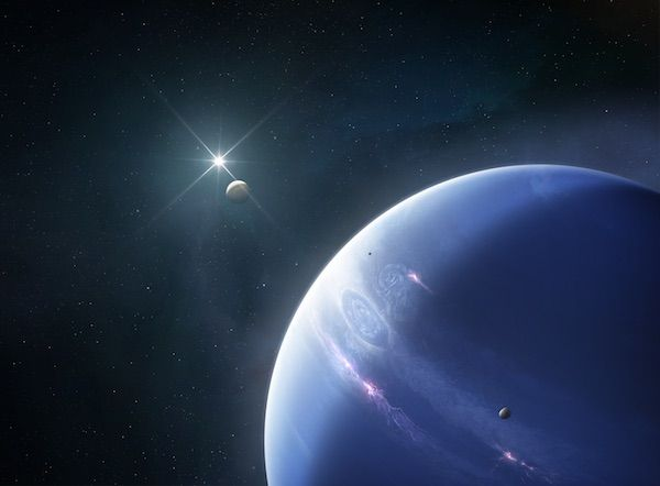 The planet Neptune, with a bright night sky behind it