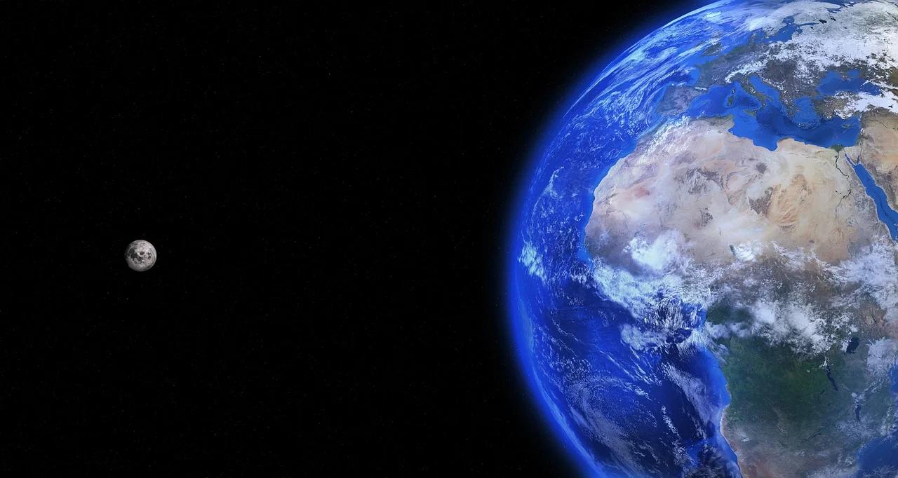 The moon orbiting the earth.