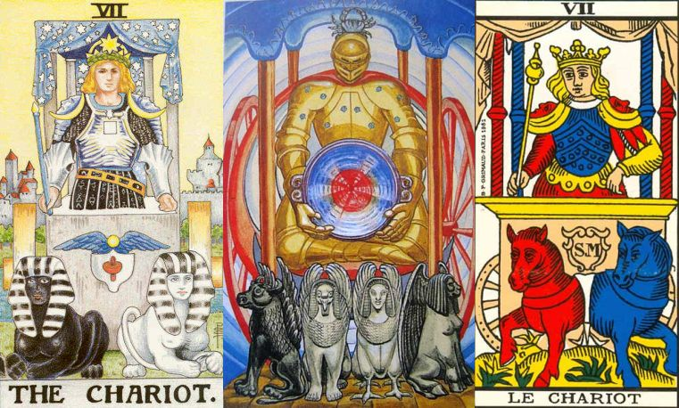 a composite image showing the artwork of different chariot tarot cards