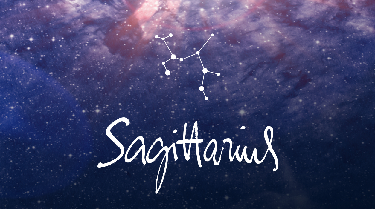 """Sagittarius"" written in a white script font on a galaxy background, with the constellation depicted above. Image courtesy of Astrology Zone."