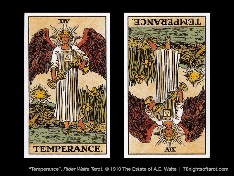the temperance tarot card shown right side up and reversed