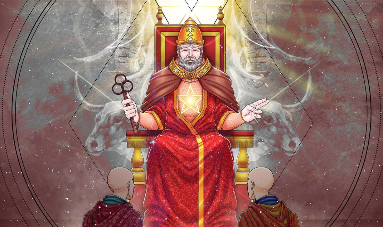 a high priest seated in a throne before two kneeling followers