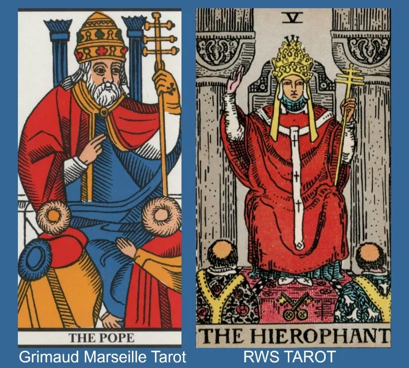 two different interpretations of the hierophant tarot card