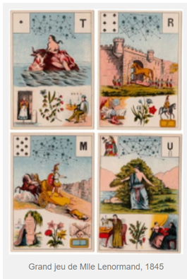 Collection of old oracle cards from the 1800s with colorful images